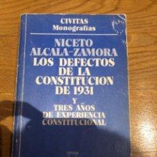 Libros de segunda mano: LOS DEFECTOS DE LA CONSTITUCIÓN DE 1931. Lote 249169825