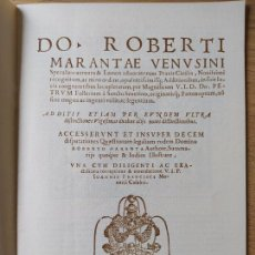 Libros de segunda mano: DO.ROBERTI MARANTAE VENUSINI SPECULUM AUREUM. FACSIMIL. TIRADA LIMITADA.. Lote 257484850