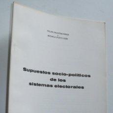 Libros de segunda mano: SUPUESTOS SOCIO-POLÍTICOS DE LOS SISTEMAS ELECTORALES - FELIPE ARAGÜES PÉREZ, MICAELA PUEYO GOÑI. Lote 47899928