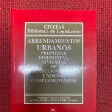 Libros de segunda mano: ARRENDAMIENTOS URBANOS. CIVITAS, BIBLIOTECA DE LEGISLACIÓN. VIGÉSIMA QUINTA EDICIÓN, SEPT 2003.. Lote 269411408