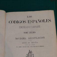 Libros de segunda mano: 1872 TOMO DECIMO LOS CÓDIGOS ESPAÑOLES CONCORDADOS Y ANOTADOS LEYES ESPAÑA SEGUNDA EDICIÓN. Lote 276939883