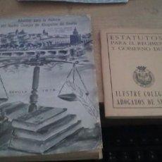 Libros de segunda mano: APUNTES PARA LA HISTORIA DEL ILUSTRE COLEGIO DE ABOGADOS DE SEVILLA 1978 -Y LOS ESTATUTOS. Lote 277117463