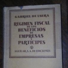 Libros de segunda mano: REGIMEN FISCAL DE LOS BENEFICIOS DE EMPRESAS Y PARTICIPES:. Lote 277302838