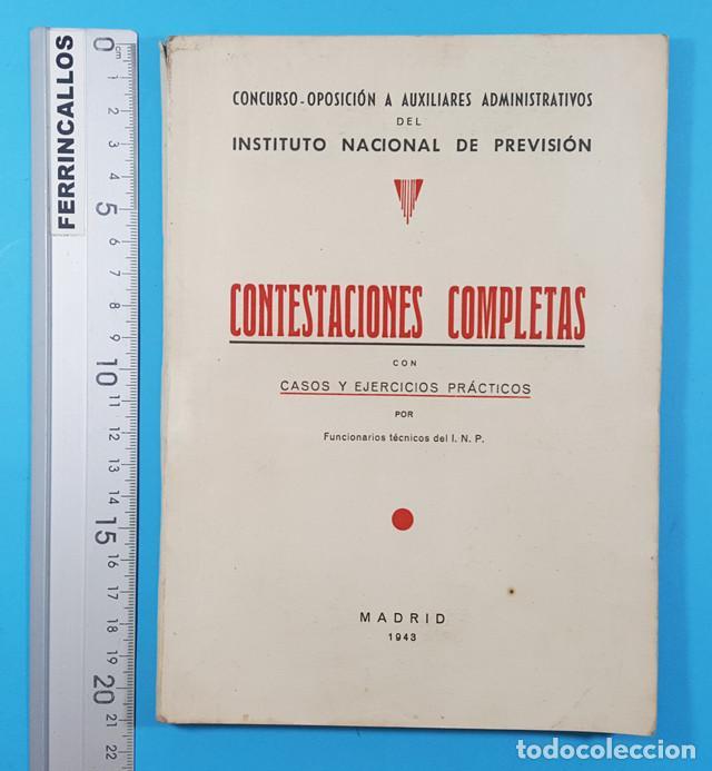 CONCURSO OPOSICION AUXILIARES ADMINISTRATIVOS DEL INSTITUTO NACIONAL PREVISION 1943 119 PAGINAS (Libros de Segunda Mano - Ciencias, Manuales y Oficios - Derecho, Economía y Comercio)