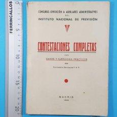 Libros de segunda mano: CONCURSO OPOSICION AUXILIARES ADMINISTRATIVOS DEL INSTITUTO NACIONAL PREVISION 1943 119 PAGINAS. Lote 278189368