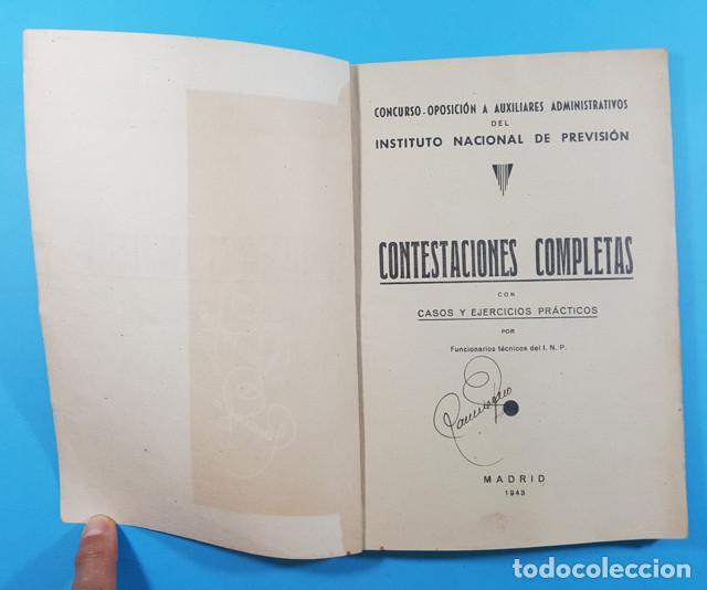 Libros de segunda mano: CONCURSO OPOSICION AUXILIARES ADMINISTRATIVOS DEL INSTITUTO NACIONAL PREVISION 1943 119 PAGINAS - Foto 3 - 278189368
