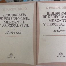 Libros de segunda mano: BIBLIOGRAFÍA DE DEREHO CIVIL, MERCANTIL Y PROCESAL CIVIL, DE G. PASCUAL NIETO. MADRID, AGUILAR, 1956. Lote 278920143