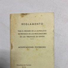 Libros de segunda mano: REGLAMENTO. REGIMEN DE LA MUTUALIDAD DE PREVISION DE LOS PROCURADORES DE LOS TRIBUNALES DE ESPAÑA. Lote 278925698