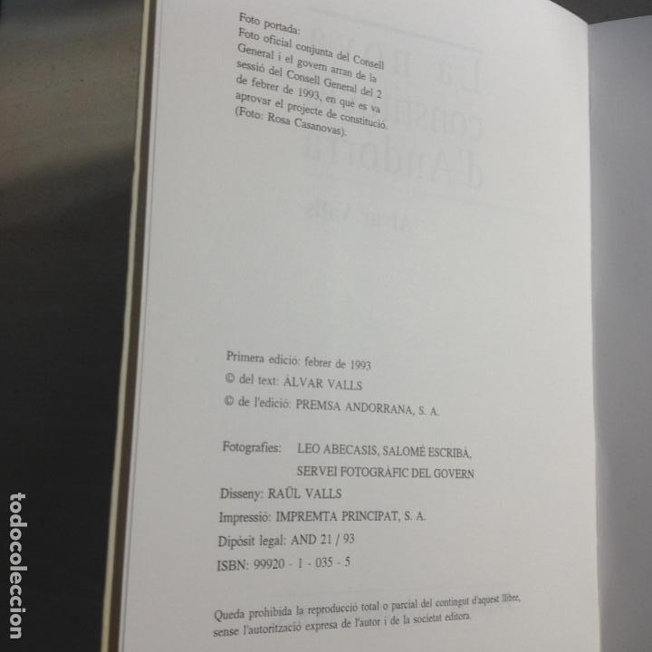 Libros de segunda mano: LA NOVA CONSTITUCIÓ DANDORRA - ÀLVAR VALLS - PREMSA ANDORRANA S.A. - 1ª EDIC. 1993 - Foto 3 - 287683853