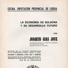 Livros em segunda mão: LA ECONOMÍA DE SOLSONA Y SU DESARROLLO FUTURO. Lote 288397303