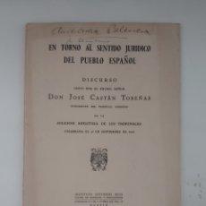 Libros de segunda mano: EN TORNO AL SENTIDO JURÍDICO DEL PUEBLO ESPAÑOL. JOSÉ CASTÁN. 1948.. Lote 293889703