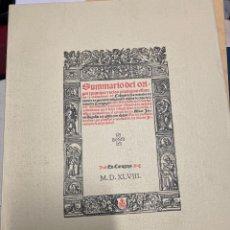 Libros de segunda mano: SUMMARIO DEL ORIGEN Y PRINCIPIO Y DE LOS PRIVILEGIOS, ESTATUTOS Y ORDINACIONES DEL COLEGIO DE LOS N. Lote 295328923