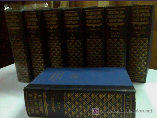 Diccionarios de segunda mano: DICCIONARIO ENCICLOPÉDICO DE ESPASA CALPE AÑO 1957 8 tomos - Foto 2 - 27640061