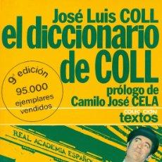 Diccionarios de segunda mano: JOSÉ LUIS COLL. EL DICCIONARIO DE COLL. BARCELONA, 1976.. Lote 27638530