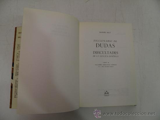 Diccionarios de segunda mano: Diccionario de dudas de la lengua española MANUEL SECO Aguilar,1979 - Foto 3 - 27867987
