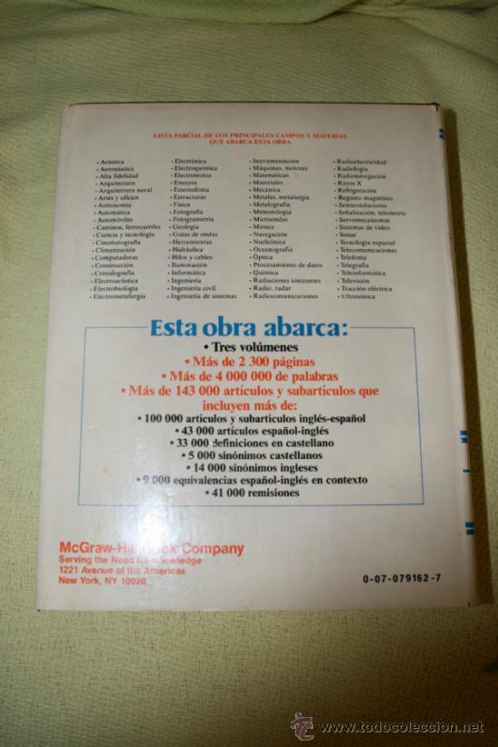 Diccionarios de segunda mano: Diccionario enciclopédico de términos técnicos inglés-español español/inglés. Collazo. McGraw-Hill. - Foto 4 - 39030206
