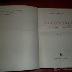 Diccionarios de segunda mano: DICCIONARIO USO DEL ESPAÑOL A- Z COMPLETO. 2 TOMOS. MARÍA MOLINER. EDITORIAL GREDOS. MADRID. 1979.. Lote 39538808