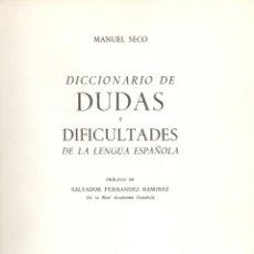 Diccionarios de segunda mano: MANUEL SECO. DICCIONARIO DE DUDAS DE LA LENGUA ESPAÑOLA. MADRID, 1961. Lote 40996144