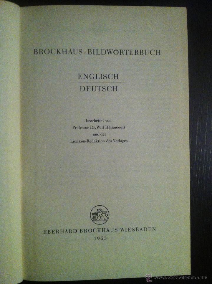 Diccionarios de segunda mano: Brockhaus Bild Wörterbuch. Englisch - Deutsch. 1953. Guter Erhaltungszustand - Foto 3 - 42231865