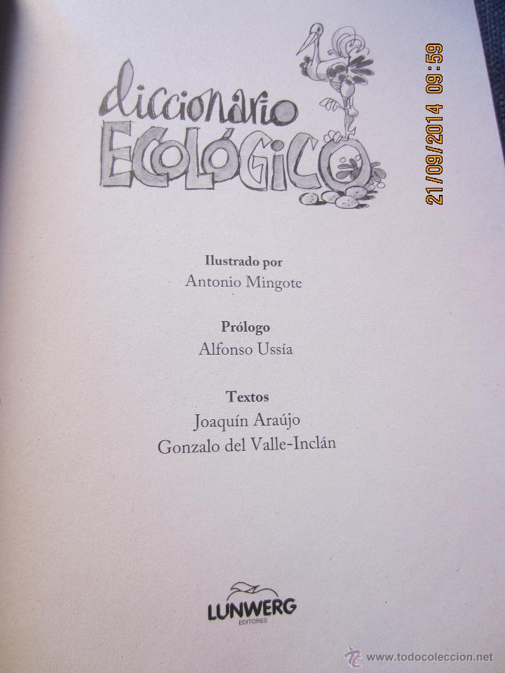 Diccionarios de segunda mano: DICCIONARIO ECOLOGICO- ILUSTRADO POR MINGOTE-PROLOGO ALFONSO USSIA-LUNWERG EDIT.2009- PRECINTADO - Foto 2 - 106895426
