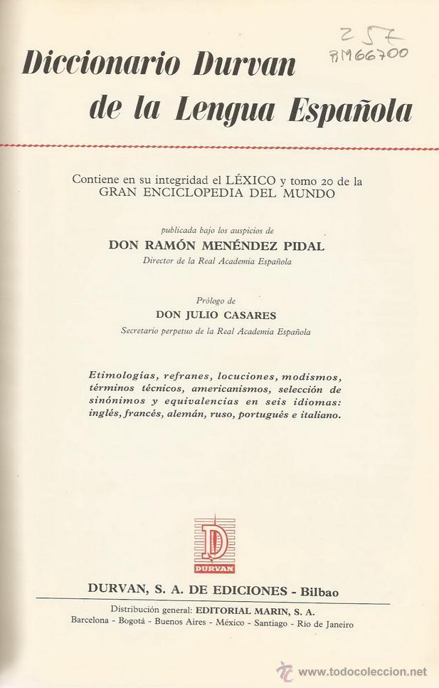 DICCIONARIO DURVAN DE LA LENGUA ESPAÑOLA. RM66700. (Libros de Segunda Mano - Diccionarios)