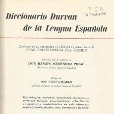 Diccionarios de segunda mano: DICCIONARIO DURVAN DE LA LENGUA ESPAÑOLA. RM66700. . Lote 45638424