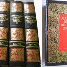 Diccionarios de segunda mano: DICCIONARIO UNESCO DE CIENCIAS SOCIALES (4 VOLÚMENES) DEL CAMPO, SALUSTIANO Y OTROS. 1987. Lote 45937358
