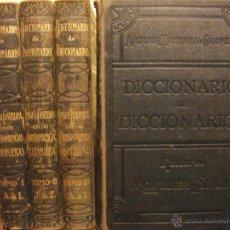 Diccionarios de segunda mano: DICCIONARIO DE DICCIONARIOS 1917 ARTURO MASRIERA Y COLOMER, CASTELLANO LATINO FRANCES CATALAN INGLES. Lote 46980070