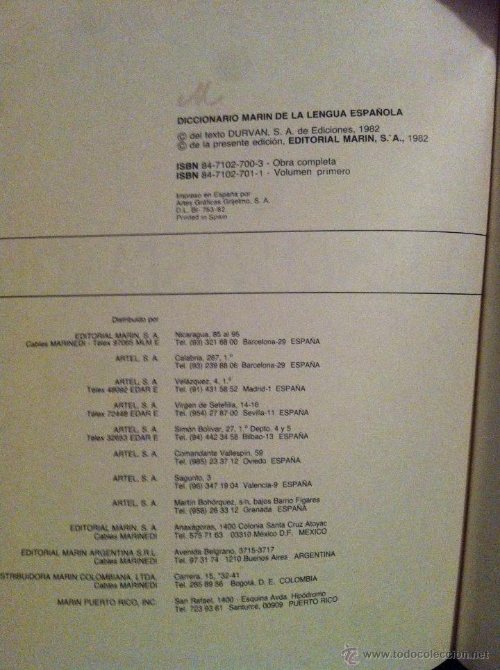 Diccionarios de segunda mano: DICCIONARIO MARIN DE LA LENGUA ESPAÑOLA - TOMOS 1 Y 2 - BARCELONA - 1982 - - Foto 4 - 46993877