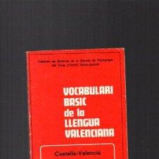 Livres d'occasion: VOCABULARI BASIC DE LA LLENGUA VALENCIANA - VALENCIA 1980. Lote 49544421