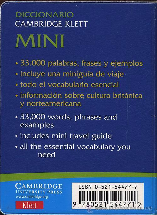 Diccionarios de segunda mano: MINI DICCIONARIO ESPAÑOL INGLES - ENGLISH SPANISH - CAMBRIDGE KLETT - 33000 PALABRAS - Foto 2 - 53271123