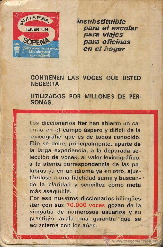 Diccionarios de segunda mano: DICCIONARIO INGLES ESPAÑOL DICTIONARY SPANISH ENGLISH - ITER SOPENA - 1973 - USADO - Foto 2 - 53271236