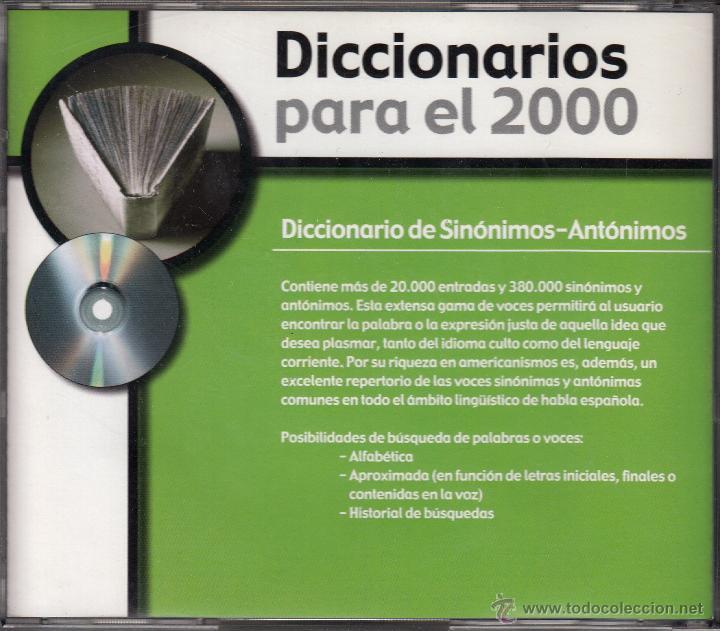 Diccionarios de segunda mano: CD-ROM DICCIONARIO DE SINÓNIMOS Y ANTÓNIMOS, DICCIONARIOS PARA EL 2000. REVISTA TIEMPO - Foto 2 - 53477714