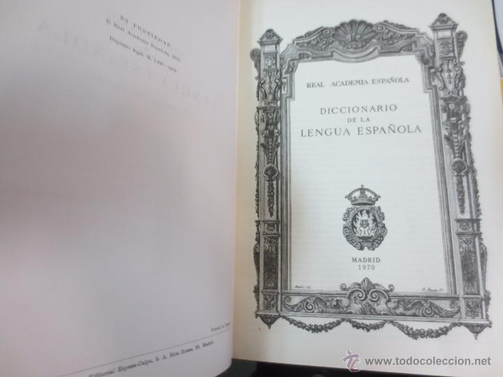 Diccionarios de segunda mano: DICCIONARIO DE LA LENGUA ESPAÑOLA REAL ACADEMIA ESPAÑOLA EDIT ESPASA-CALPE AÑO 1970 - Foto 2 - 111187591