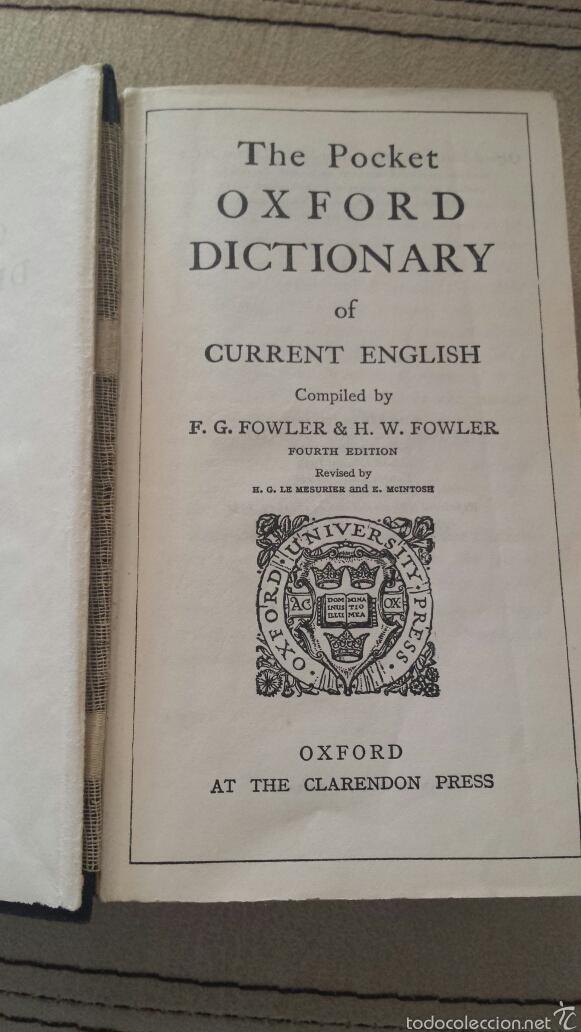 DICCIONARIO INGLÉS POCKET OXFORD 1961 (Libros de Segunda Mano - Diccionarios)