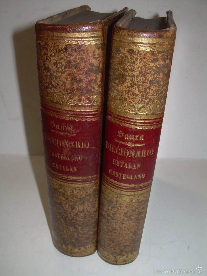 DOS TOMOS TAPAS DE PIEL...DICCIONARIO CATALAN-CASTELLANO..CASTELLANO-CATALAN..AÑO 1.883 - 84. (Libros de Segunda Mano - Diccionarios)