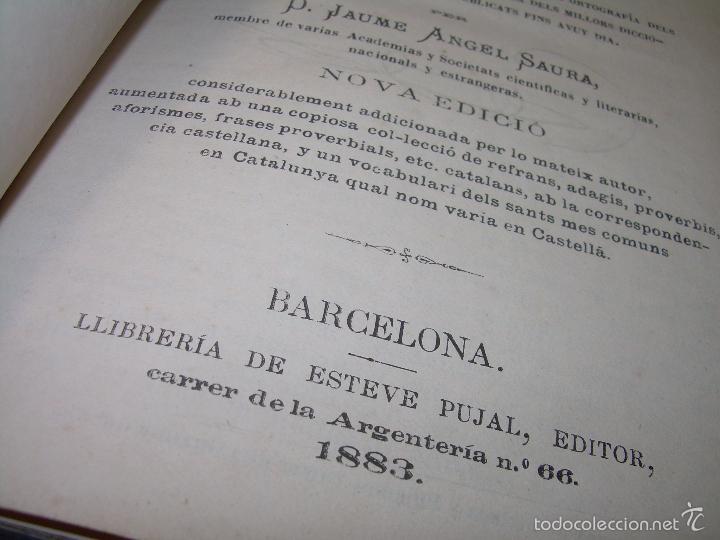 Diccionarios de segunda mano: DOS TOMOS TAPAS DE PIEL...DICCIONARIO CATALAN-CASTELLANO..CASTELLANO-CATALAN..AÑO 1.883 - 84. - Foto 4 - 58066236