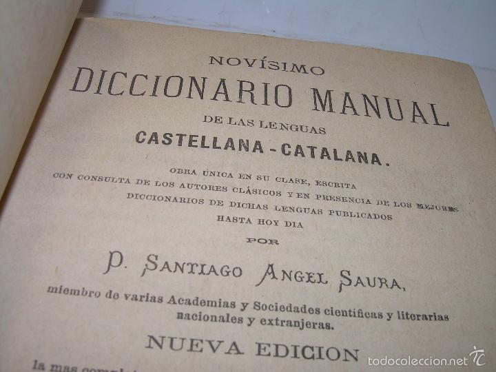 Diccionarios de segunda mano: DOS TOMOS TAPAS DE PIEL...DICCIONARIO CATALAN-CASTELLANO..CASTELLANO-CATALAN..AÑO 1.883 - 84. - Foto 5 - 58066236