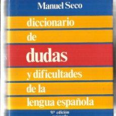 Diccionarios de segunda mano: DICCIONARIO DE DUDAS Y DIFICULTADES DE LA LENGUA ESPAÑOLA. MANUEL SECO. ESPASA-CALPE.MADRID.1981. Lote 58274527