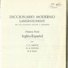 Diccionarios de segunda mano: DICCIONARIO MODERNO LANGENSCHEIDT. INGLÉS ESPAÑOL. BERLIN. 1970. Lote 61800796