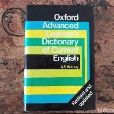 Diccionarios de segunda mano: OXFORD ADVANCED LEARNER´S DICTIONARY OF CURRENT ENGLISH AS HORNBY TAPA DURA. Lote 170140853