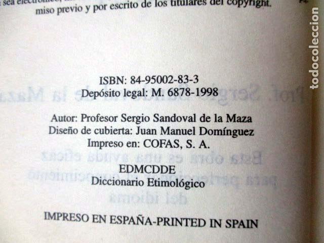 Diccionarios de segunda mano: Diccionario etimológico de la lengua castellana. Sergio Sandobal de la Maza - Foto 2 - 92415875