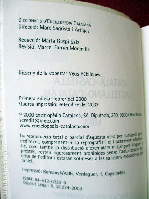 Diccionarios de segunda mano: Diccionari Català - Castellà / Diccionario Castellano - Catalán. Mini. 2003 L´enciclopèdia - Foto 3 - 92420690