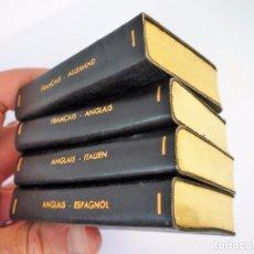 Diccionarios de segunda mano: ESTUCHE 4 DICCIONARIOS MIDGET EN PIEL Y FILO DE ORO PAPEL BIBLIA 8 X 5,5 CMS C.U. , MÁS DE 1600 PÁG. Lote 93980410