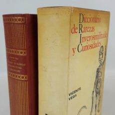 Diccionarios de segunda mano: DICCIONARIO DE RAREZAS INVEROSIMILITUDES Y CURIOSIDADES. VICENTE VEGA. 1965.. Lote 127996331