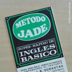 Diccionarios de segunda mano: FOLLETO DESPLEGABLE - CASTELLANO INGLES - METODO JADE 1968. Lote 130848592