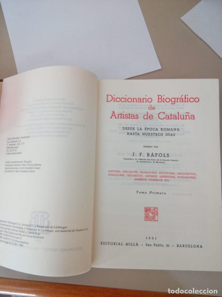 Diccionarios de segunda mano: DICCIONARIO BIOGRAFICO DE ARTISTAS DE CATALUÑA, J.F. RAFOLS, EDICION FACSIMIL, 1989 - Foto 2 - 134276410