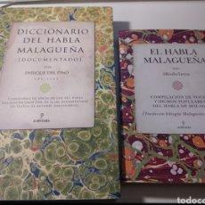 Diccionarios de segunda mano: LOTE: DICCIONARIO DEL HABLA MALAGUEÑA, POR ENRIQUE DEL PINO; Y EL HABLA MALAGUEÑA, POR ALFREDO LEYVA. Lote 140963874