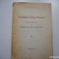 Diccionarios de segunda mano: M. RODRIGUÉZ LAPA VOCABULÁRIO GALEGO-PORTUGUÊS Y91532. Lote 144254474