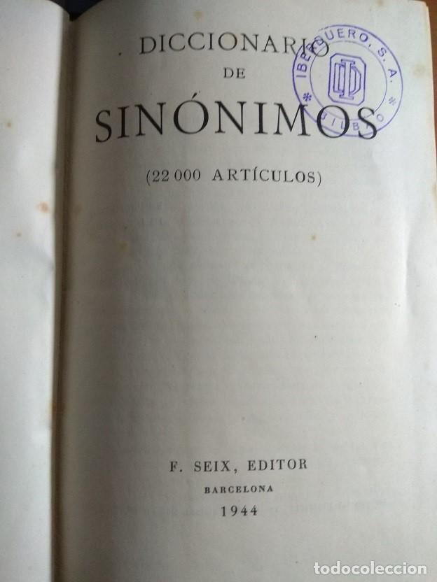 Diccionarios de segunda mano: DICCIONARIO DE SINÓNIMOS - F. SEIX EDITOR - 1.944 - Foto 3 - 147963126